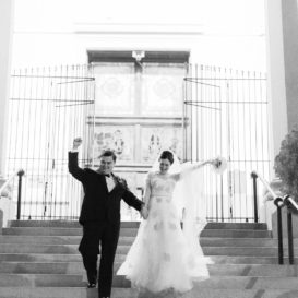 new orleans st joseph bride and groom exit church - 01