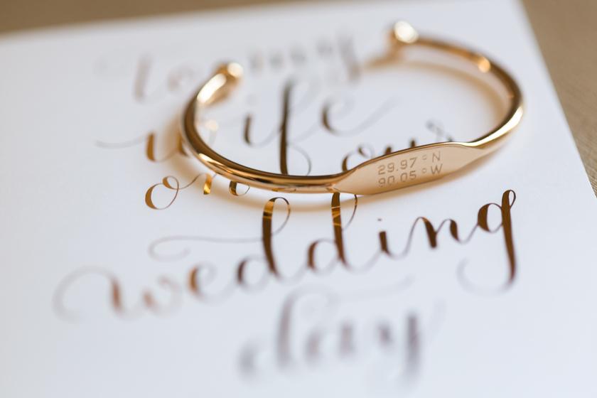 omni royal orleans wedding special coordinates bracelet