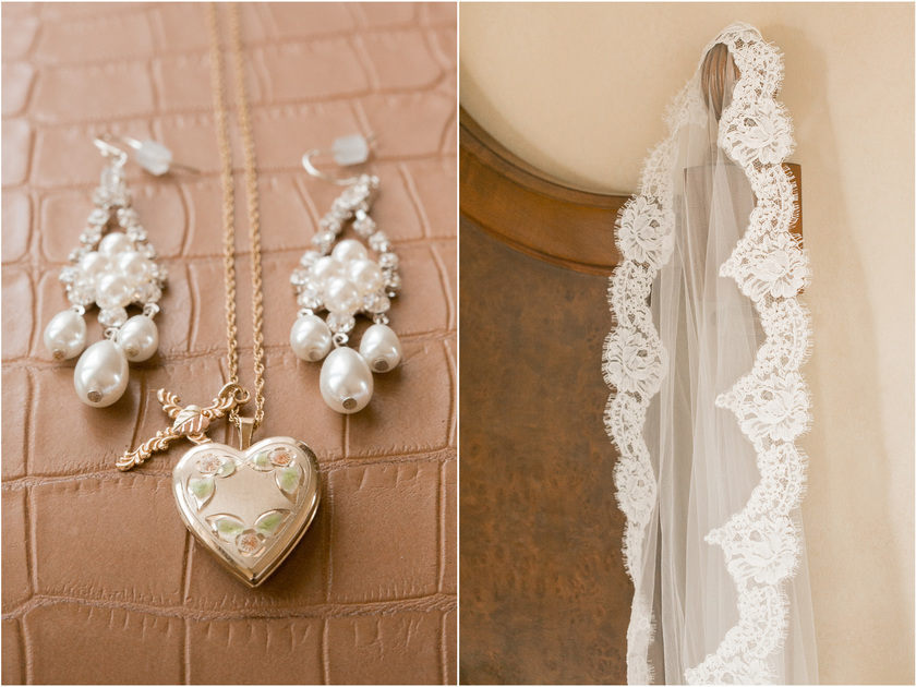 wedding day jewelry and veil