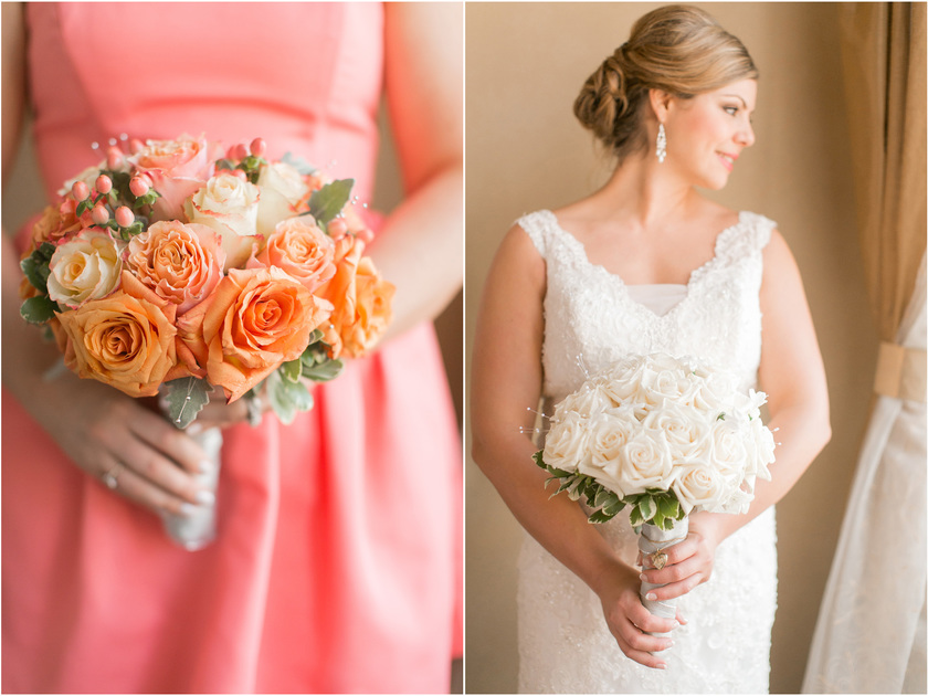 wedding day flowers with peach