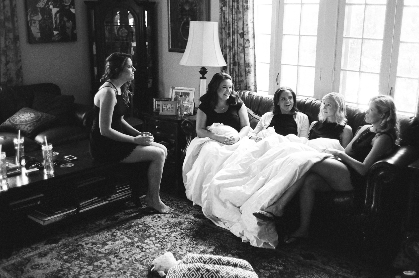 bridesmaids hanging out during bridal prep