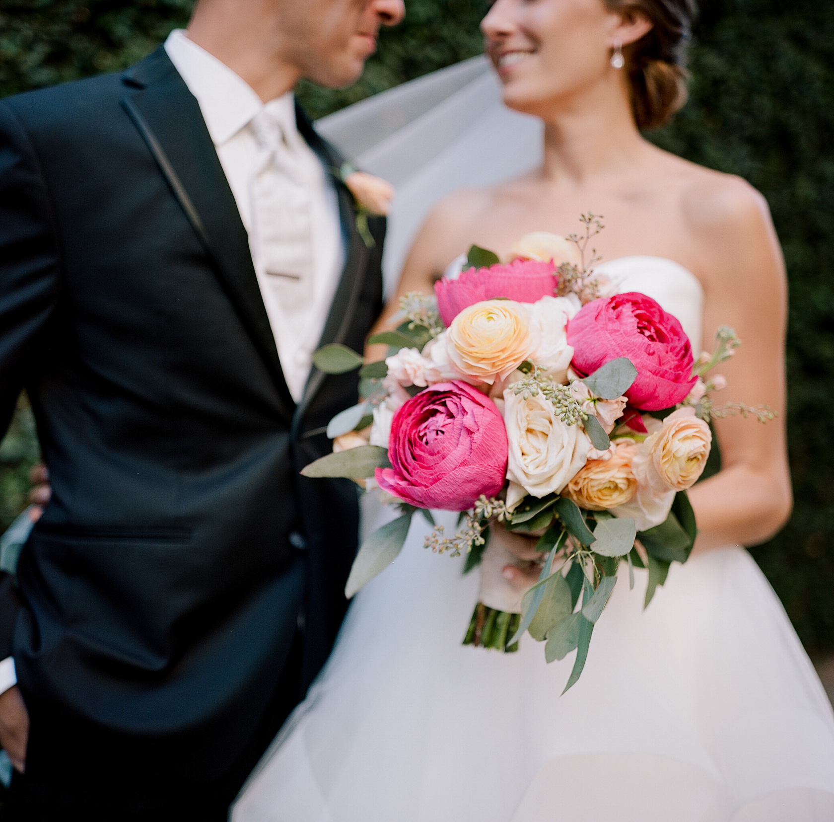 peony paper flowers in wedding bouquet