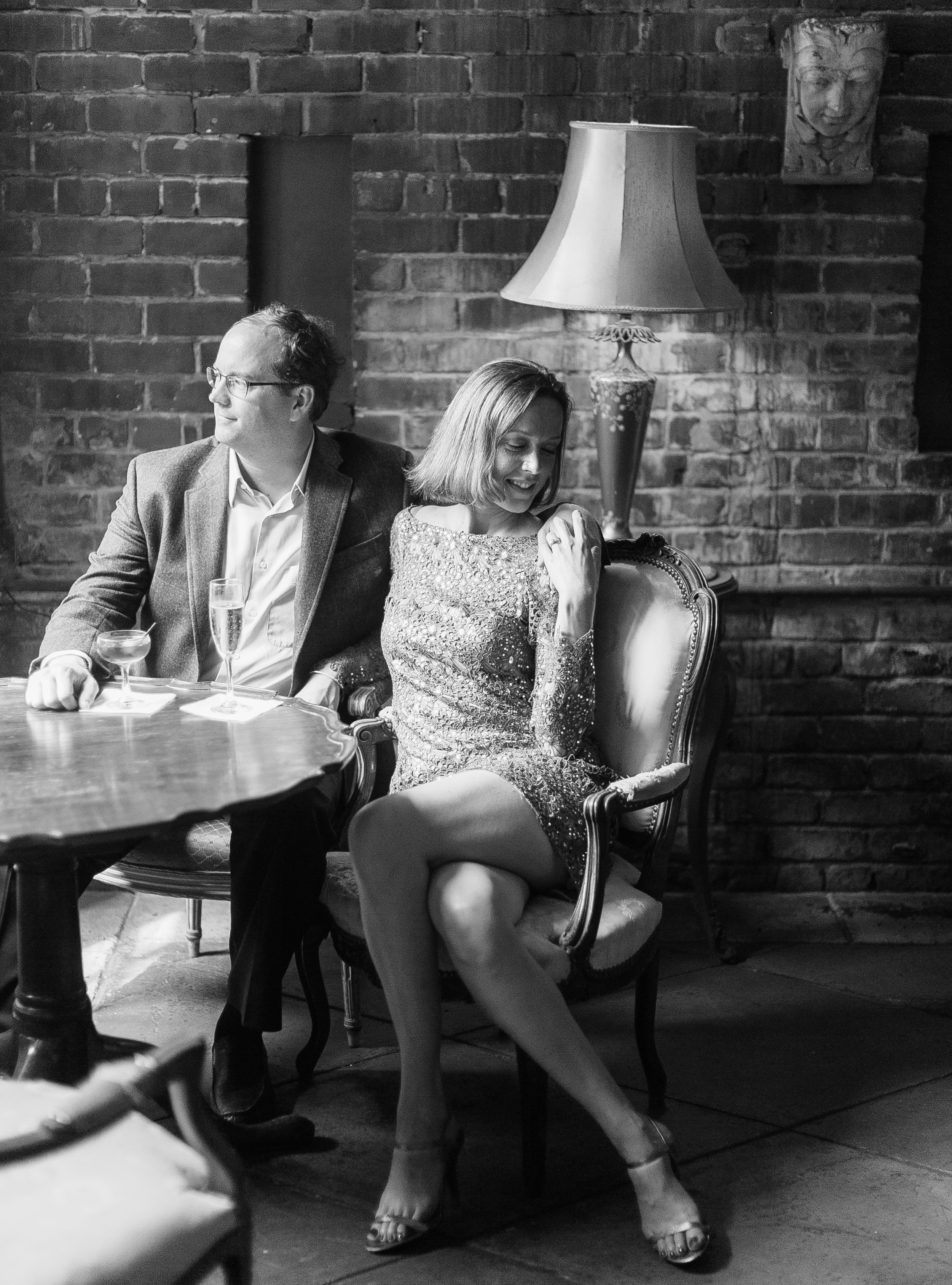 new orleans engagement photo in a bar