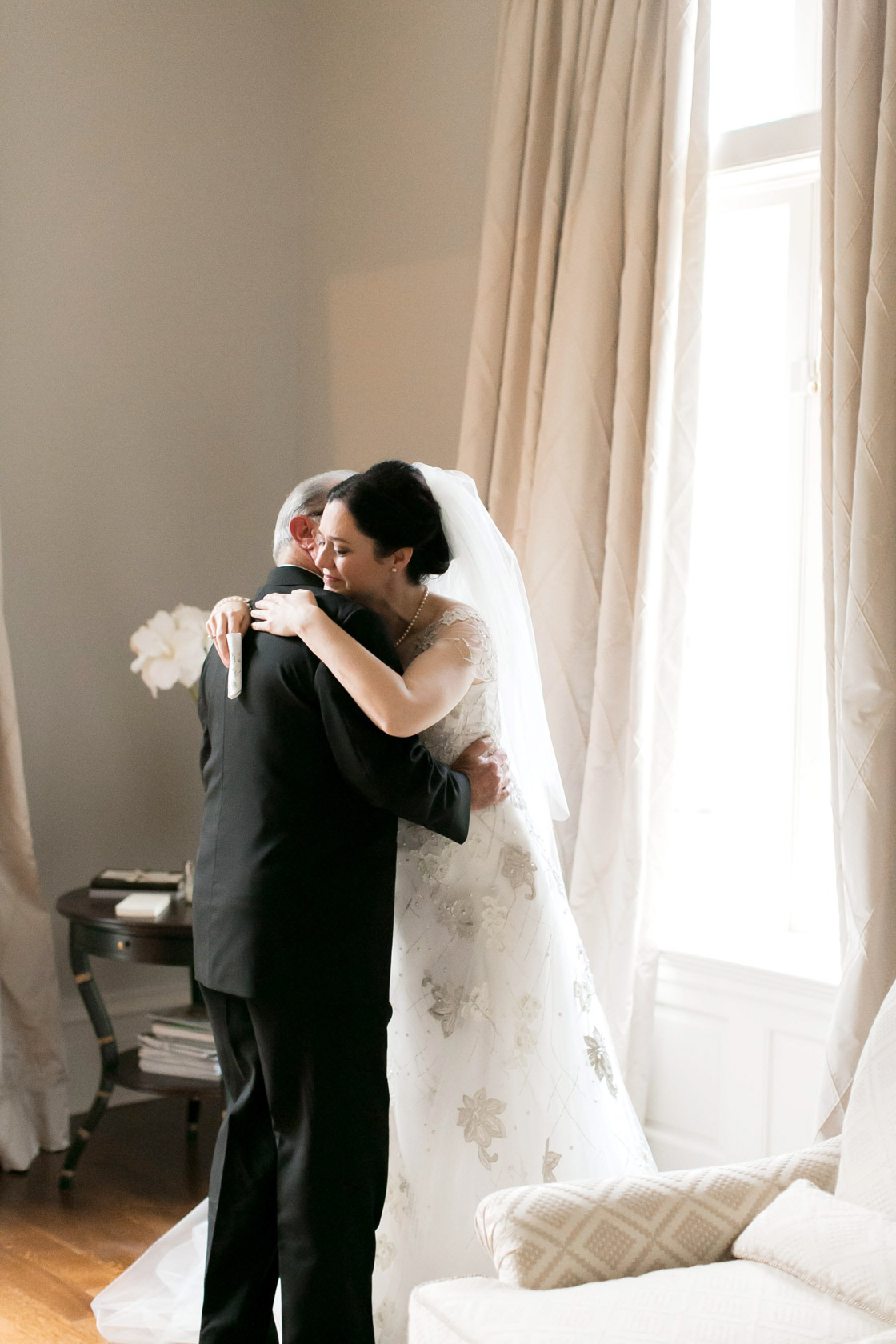 new orleans civic theatre wedding bride and dad hug - 07
