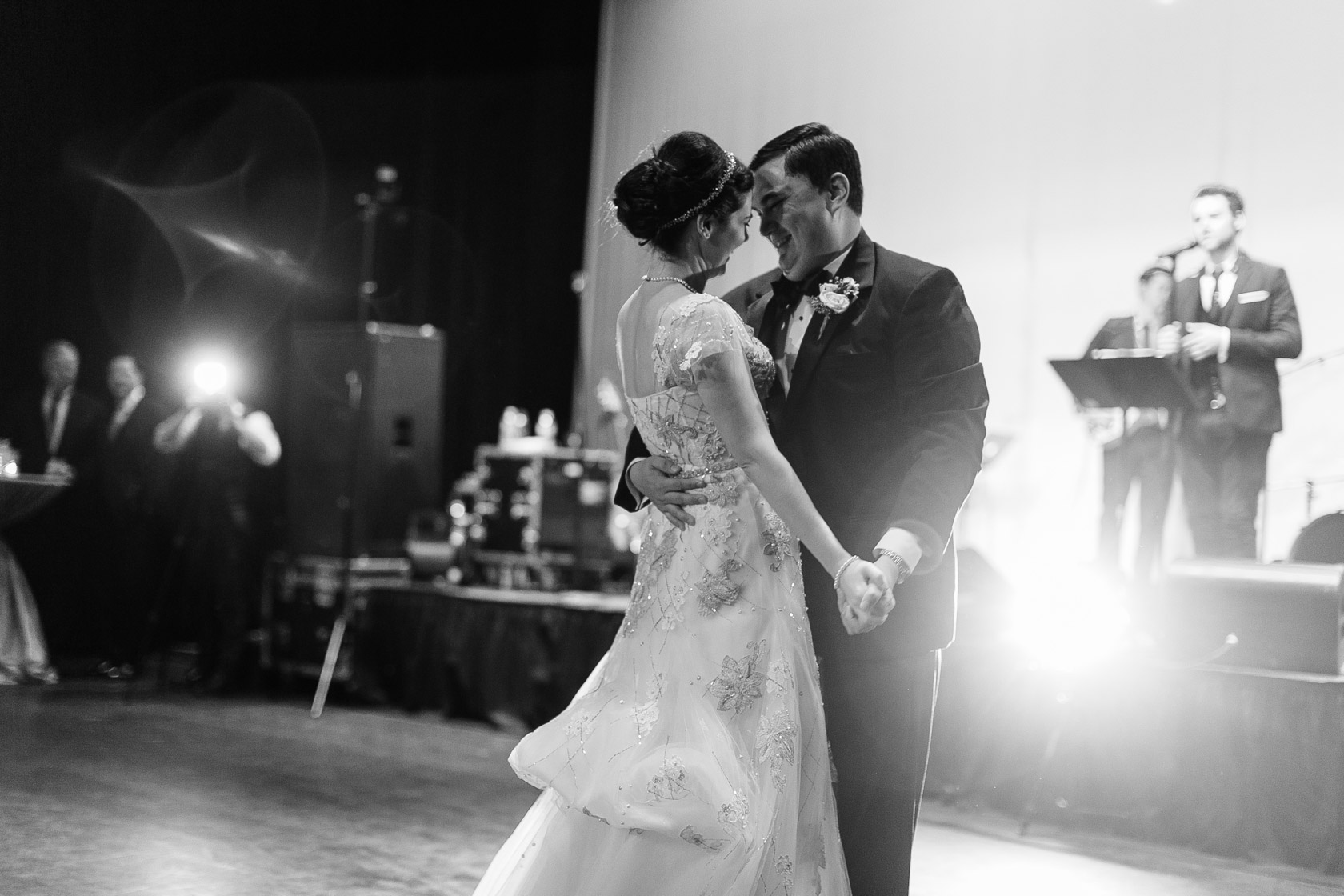 new orleans civic theatre wedding bride and groom dance - 01