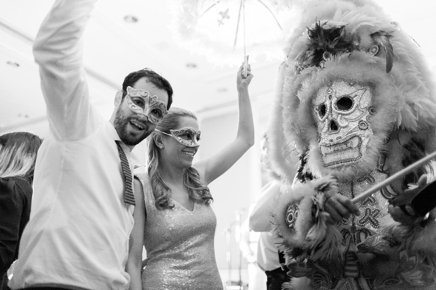 omni royal orleans wedding reception mardi gras indians