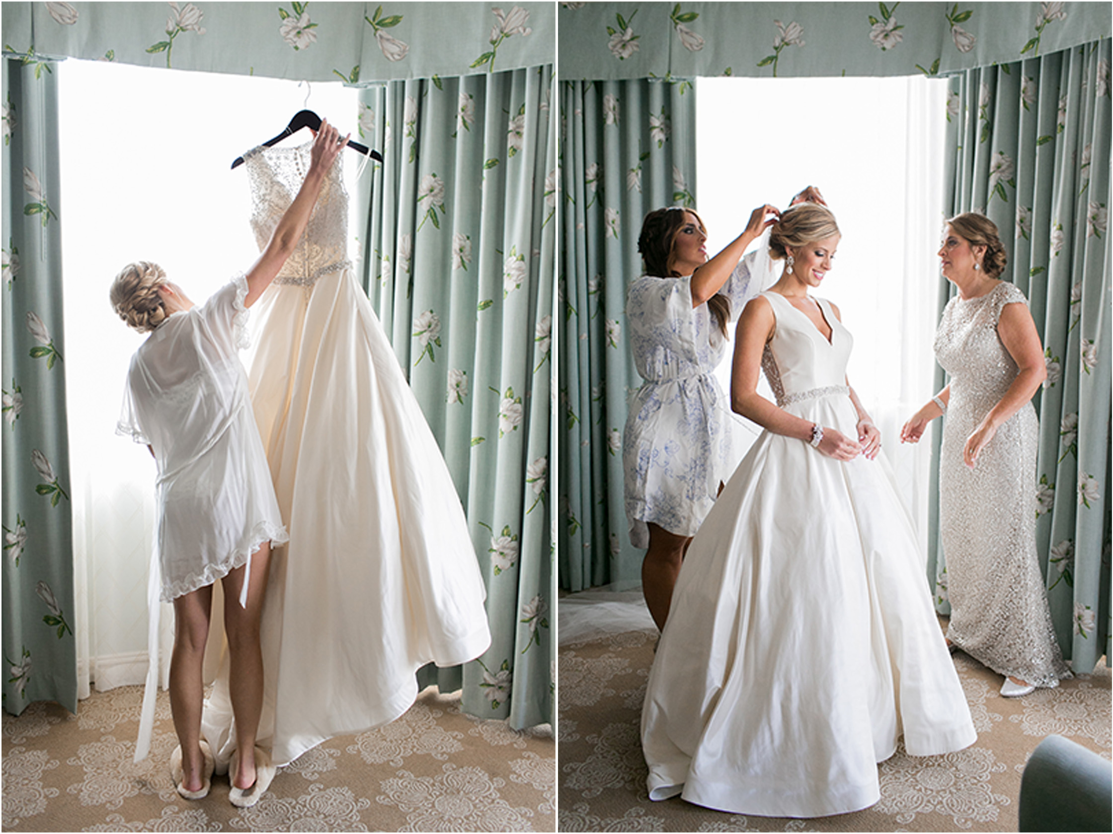 brides mother helping bride to dress