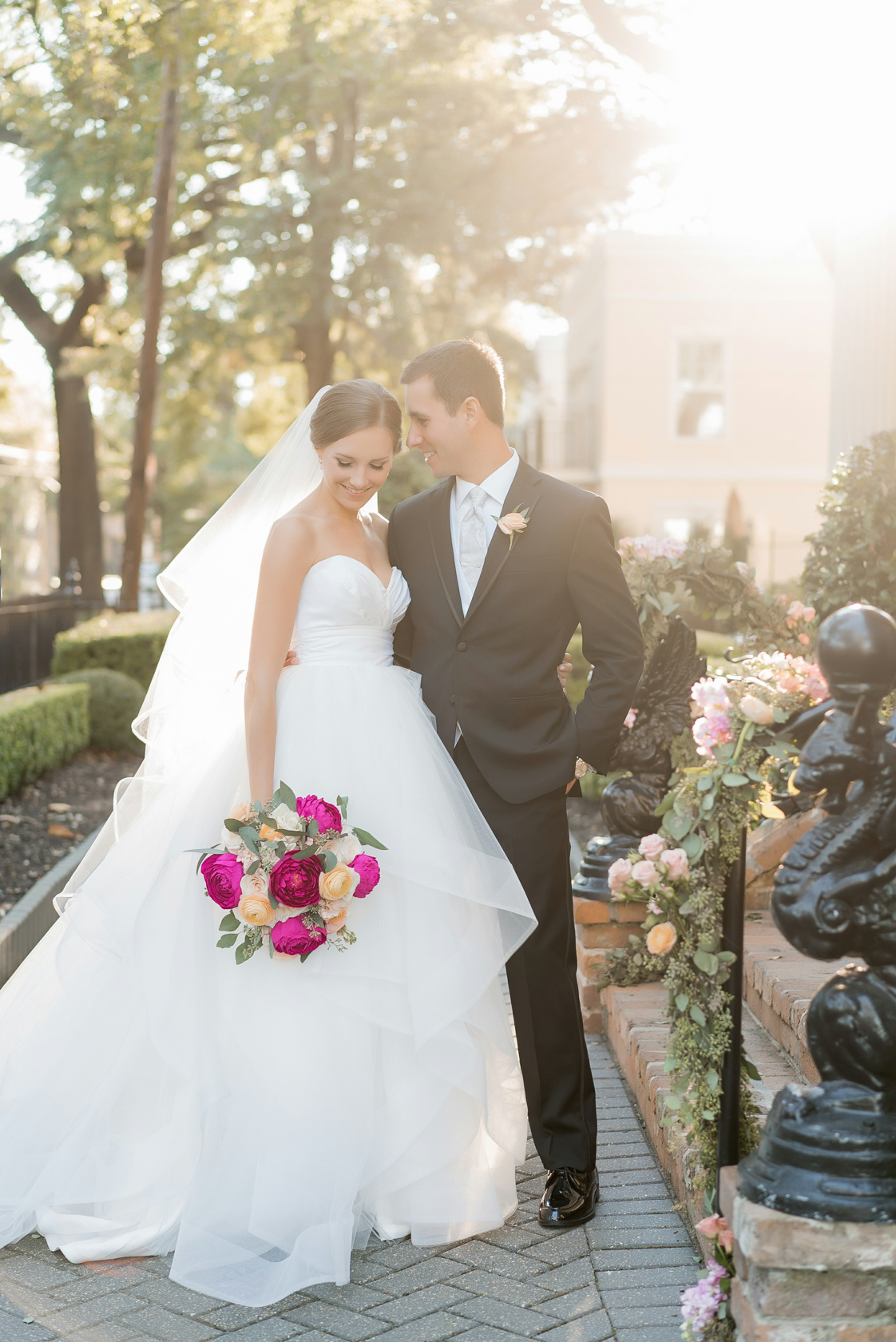 bride and groom portrait at elms mansion in new orleans