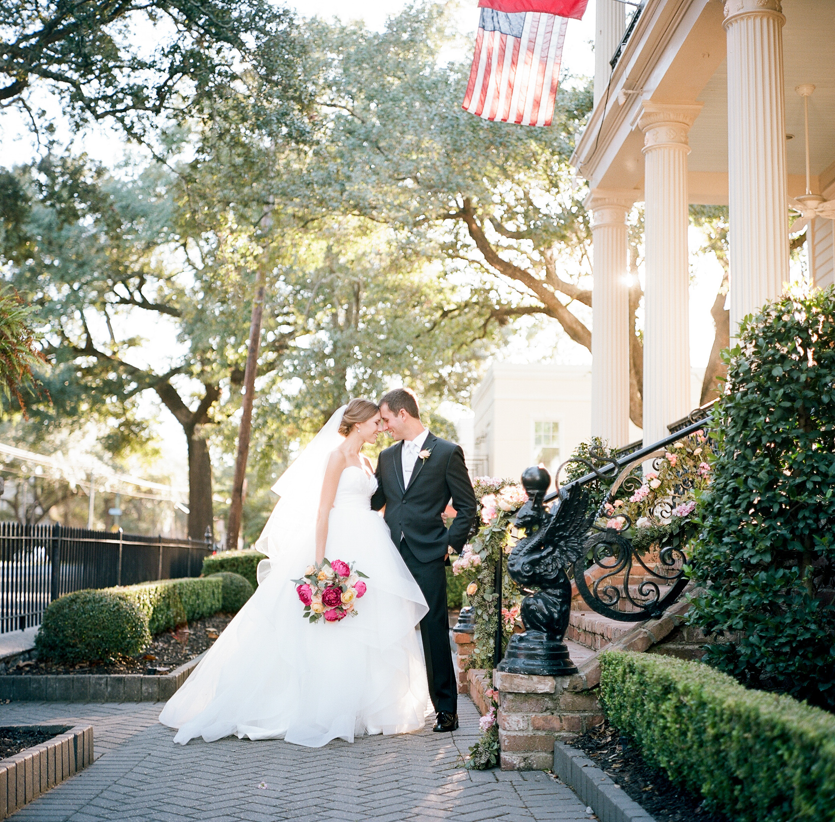 bride and groom portrait at elms mansion in new orleans 07