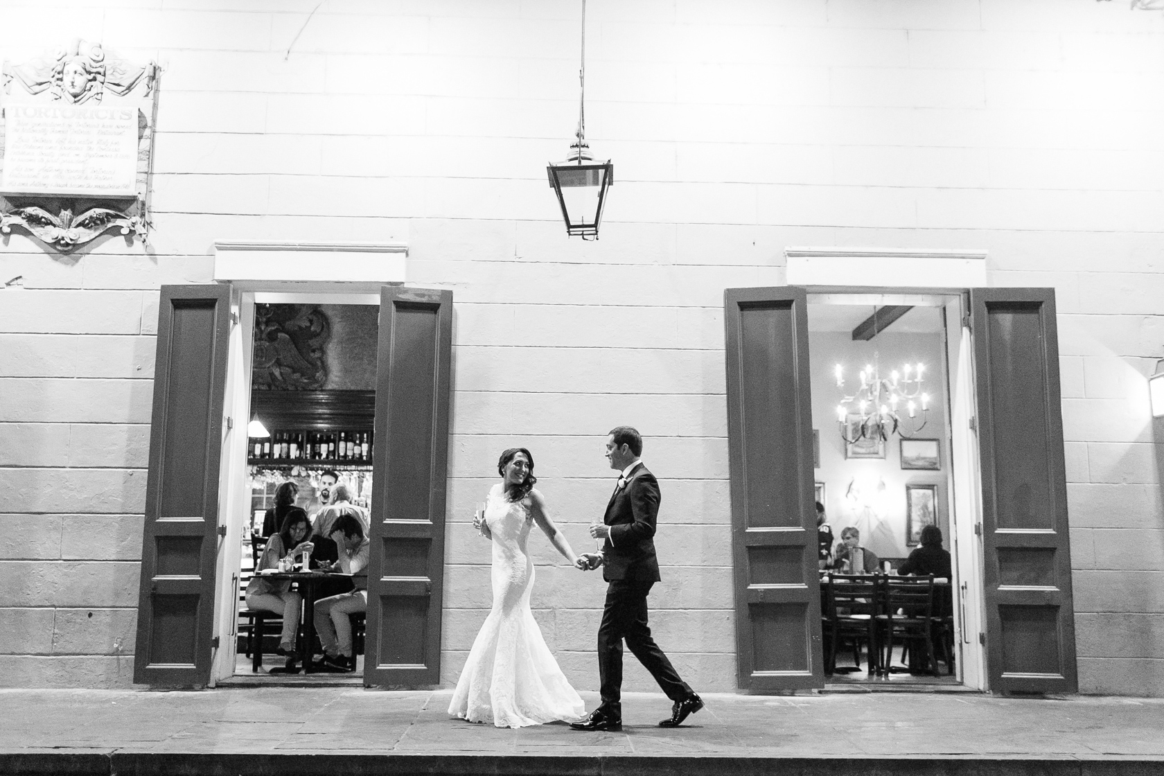 bride and groom in french quarter