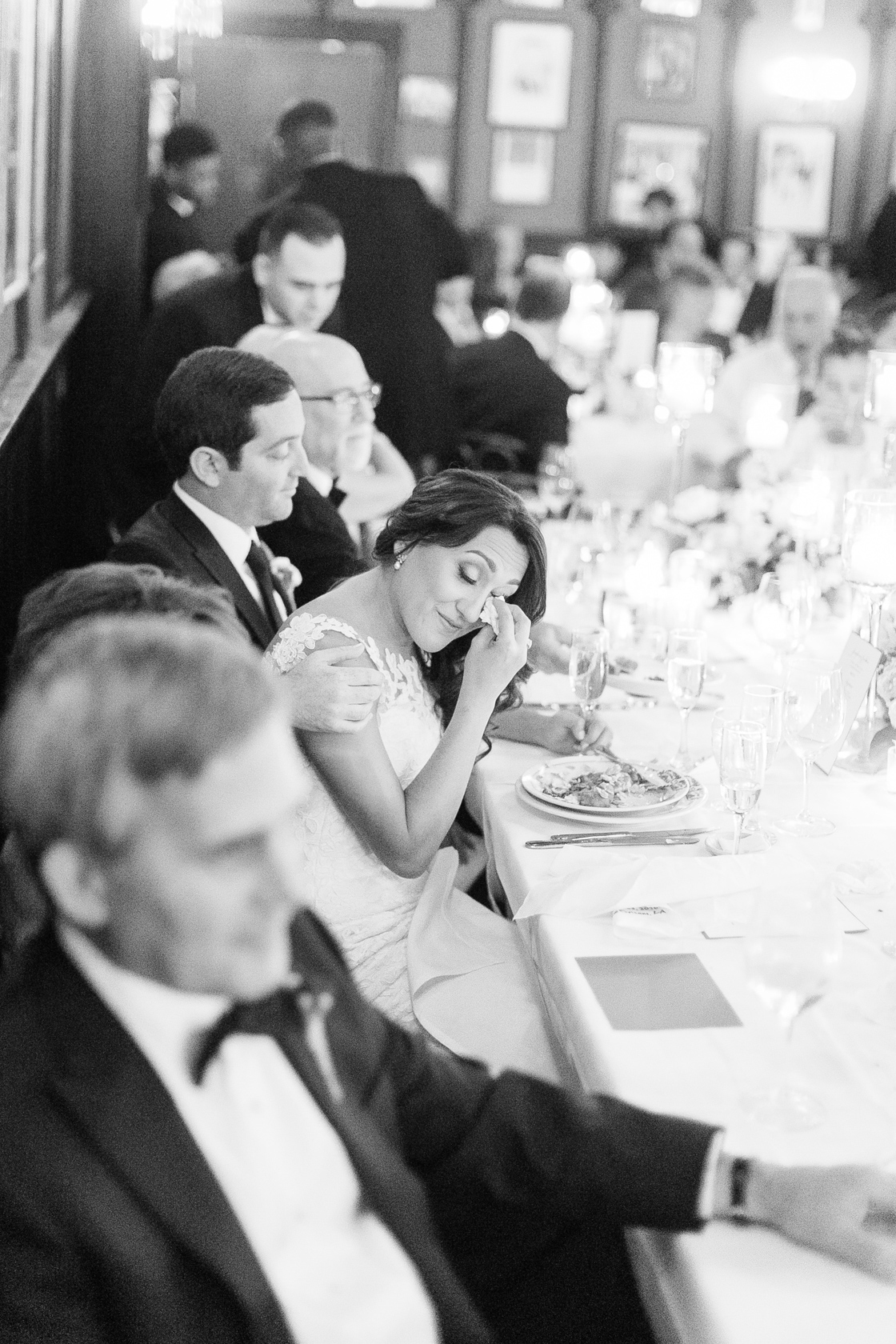 bride crying during toasts at antoines reception