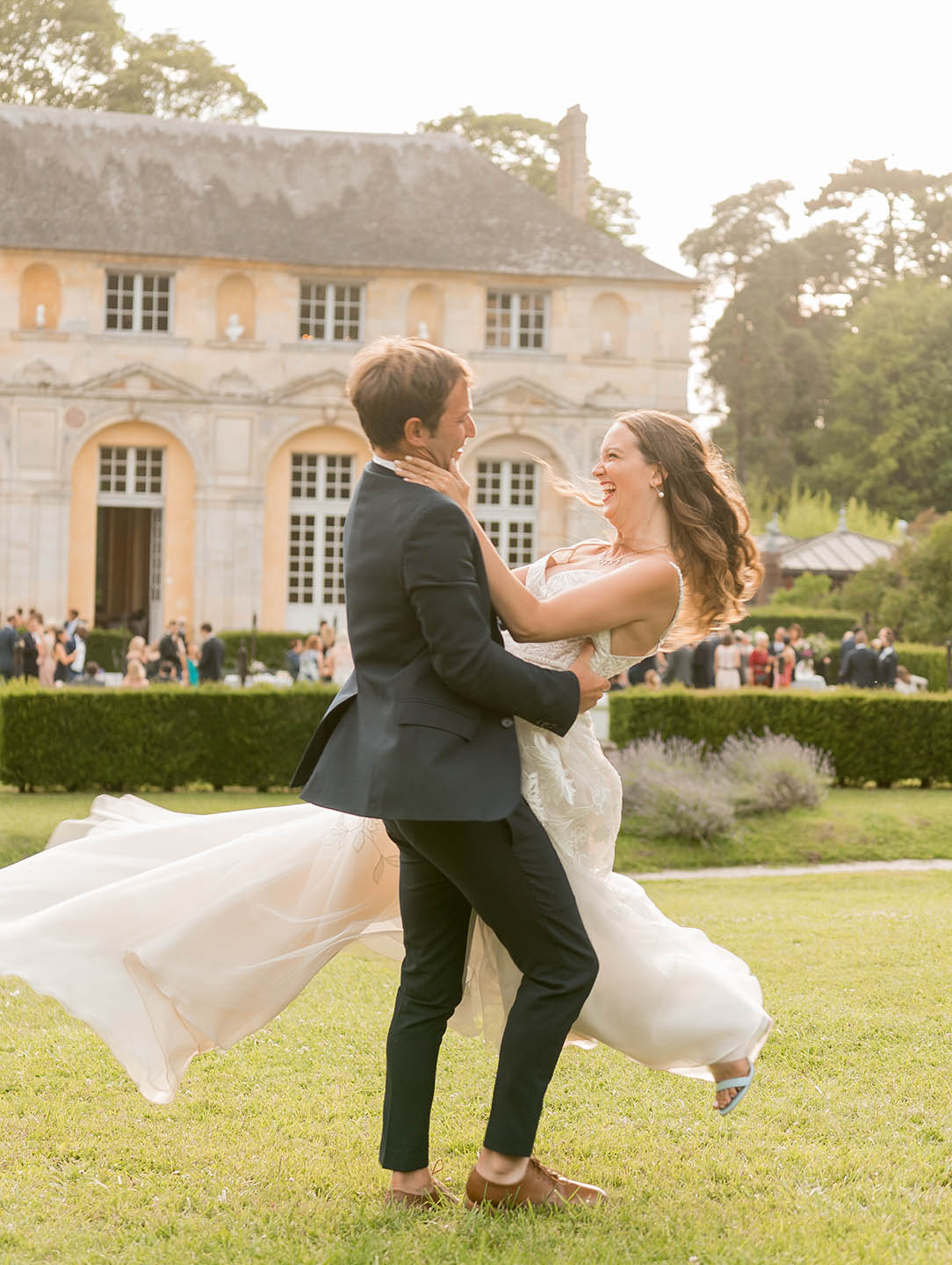 chateau de vallery bride and groom spinning on lawn