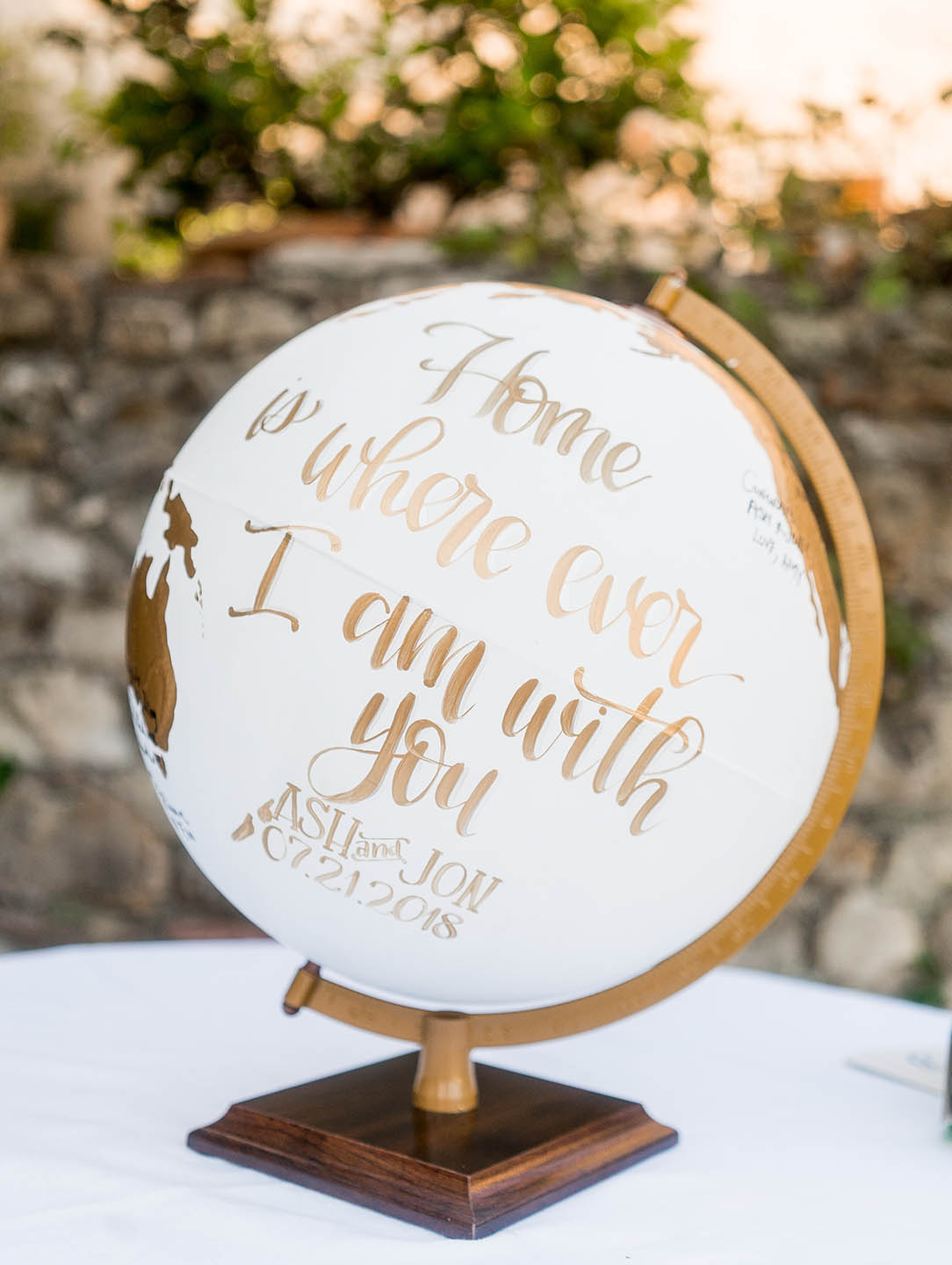 globe for destination wedding detail