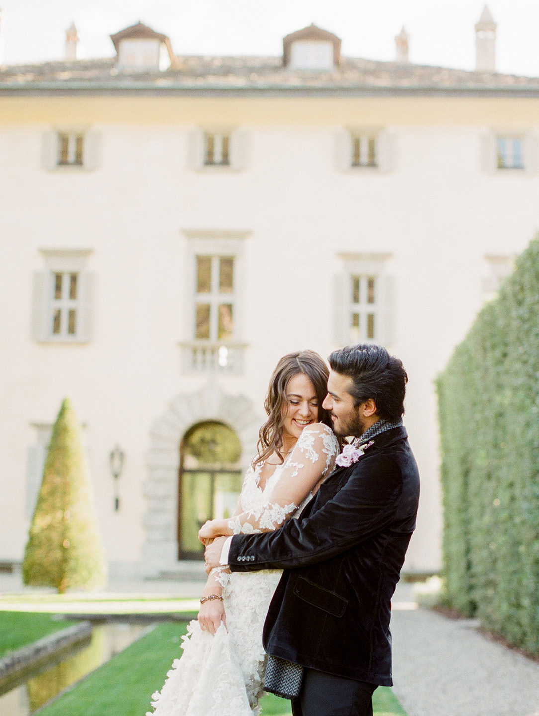 villa balbiano elopement in lake como bride and groom embrace