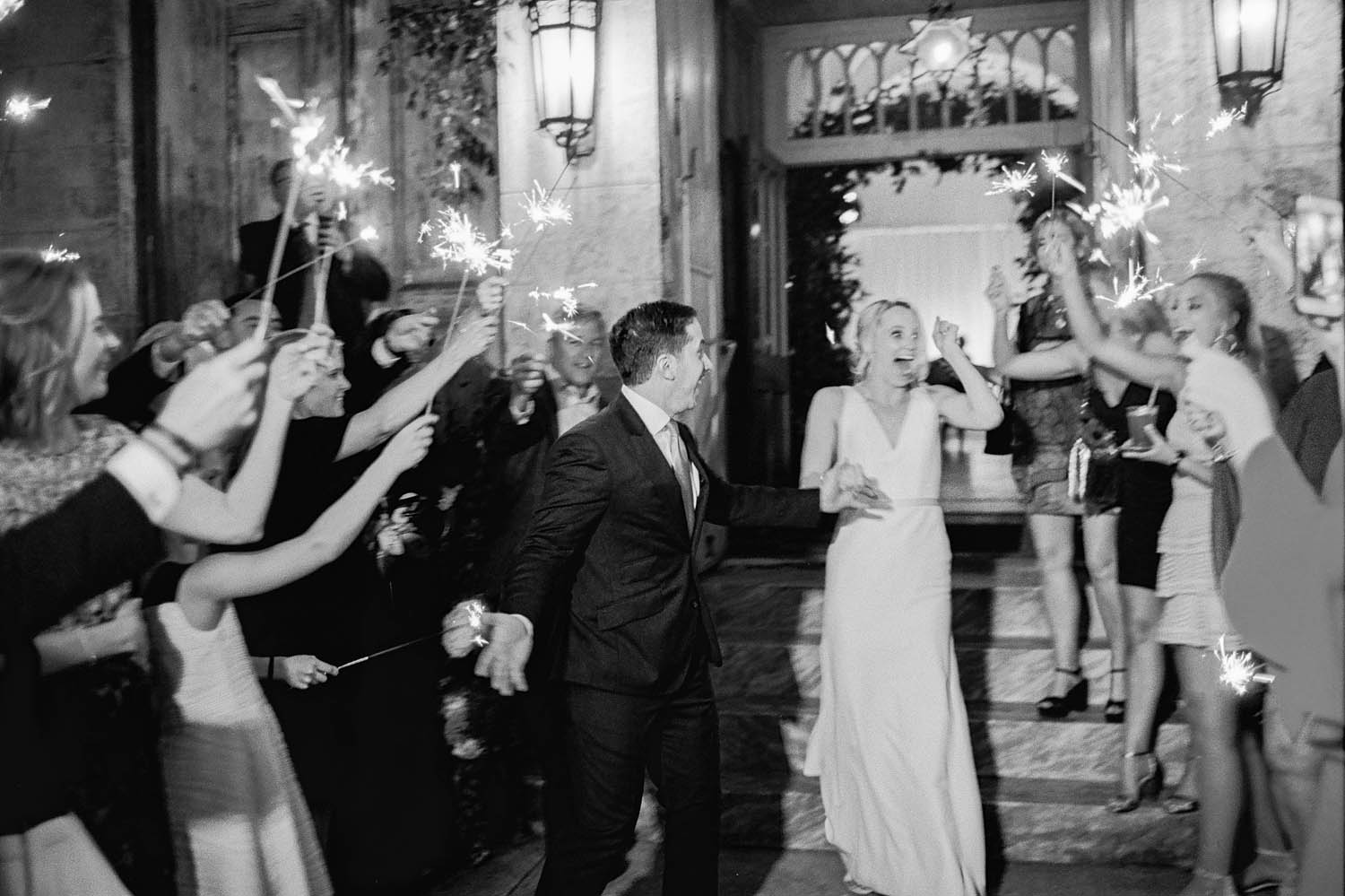 new orleans marigny opera house wedding reception bride and groom sparkler departure